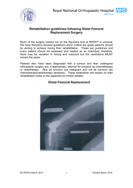 Distal femoral replacement rehabilitation guidelines