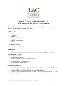Protocol for Performing Lower Extremity Arterial Duplex