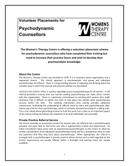 Volunteer Placement – Psychodynamic Counsellor