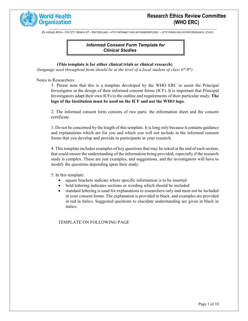 Informed Consent Form Template for clinical trials – Research Consent Form Template