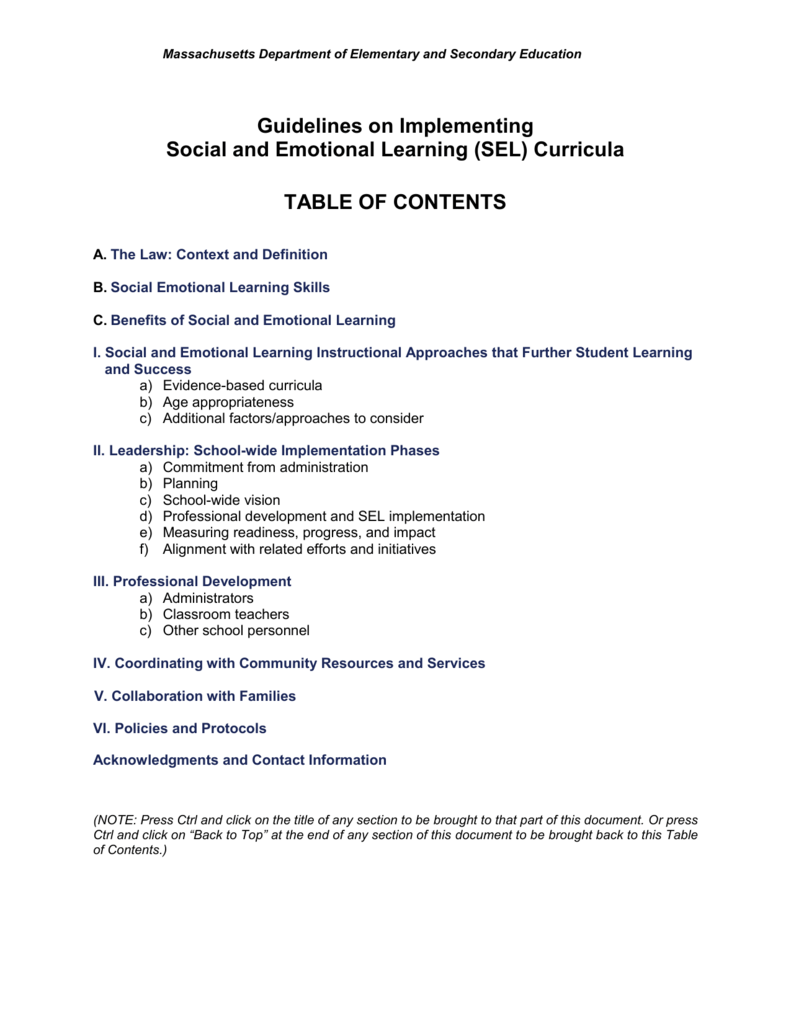 When Adding Sel To Curriculum >> Guidelines For Implementing Social And Emotional Curriculum K