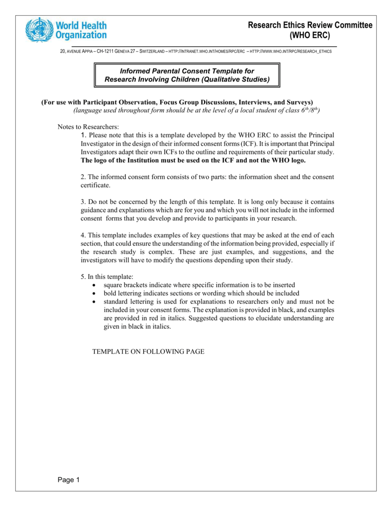 Informed Consent Form Template for Clinical Studies – Research Consent Form Template