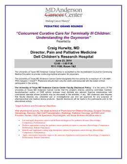 PEDIATRIC GRAND ROUNDS - MD Anderson Cancer Center