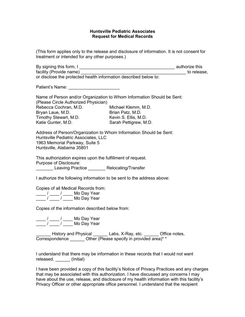 request for medical records huntsville pediatric associates
