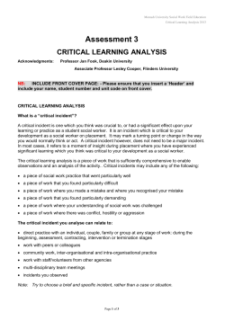 CRITICAL LEARnING ANALYSIS