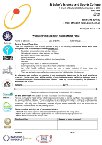 Risk Assesment form - St Luke`s Science and Sports College