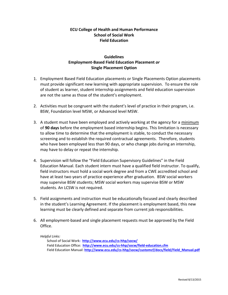 Employment Based Single Placement Option Proposal Form – Social Work Intern Job Description