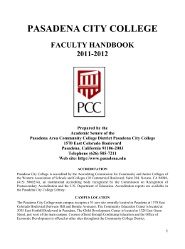 PASADENA CITY COLLEGE FACULTY HANDBOOK 2011