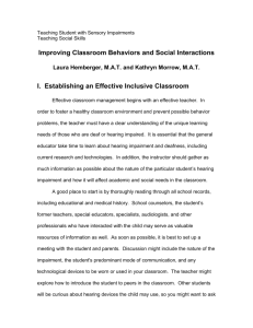 Improving Classroom Behaviors and Social Interactions