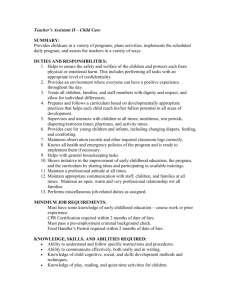 Teacher`s Assistant – Child Care
