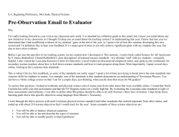 Pre-Observation Email to Evaluator