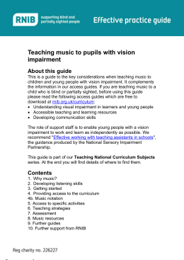 Teaching music to pupils with vision impairment Guide (Word