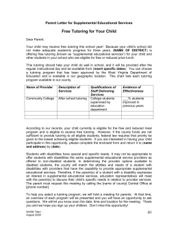 Parent Letter for Supplemental Educational Services