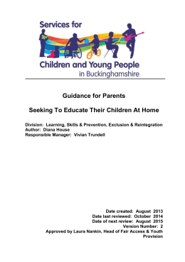 Guidance for Parents - Buckinghamshire County Council