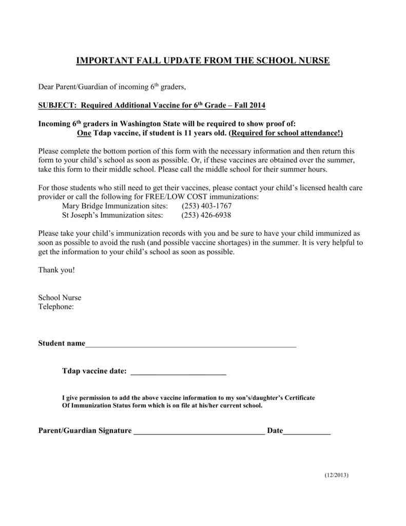 Tdap 6th Grade Parent Letter