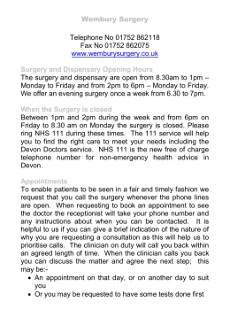 Wembury Surgery A4 leaflet large print Oct14