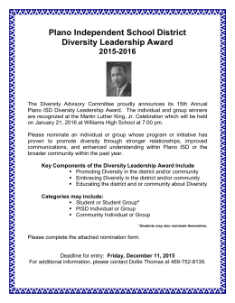 Diversity Leadership Nomination Form