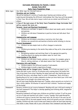 Curriculum Information for Parents – EYFS