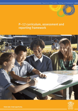 P-12 curriculum, assessment and reporting framework