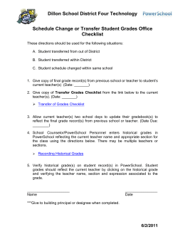 Schedule Change or Transfer Student Grades Checklist