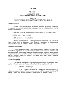 VDE - Policy 2436.10 - Participation in extracurricular activities