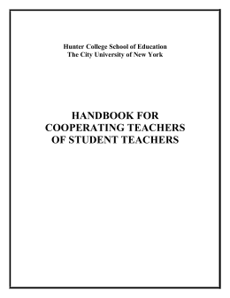 Cooperating Teachers Student Teaching Handbook