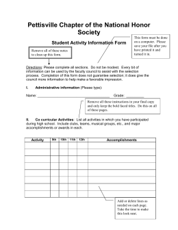 NHS Student Activity Form - Pettisville Local Schools