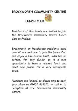 BROCKWORTH COMMUNITY CENTRE LUNCH CLUB