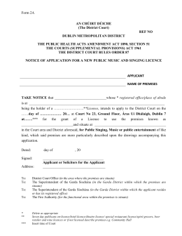 Notice of application for new music and singing licence