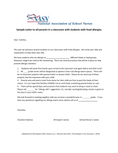 Welcome Back to School Letter – Child with Food Allergy