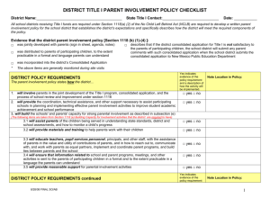 District Title I Parent Involvement Policy Checklist