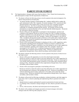 Title i parent involvement plan 2012 for Parent involvement plan template