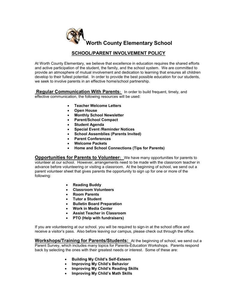 wces parent involvement policy