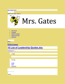 Mrs. Gates - 10 List of Leadership Quotes