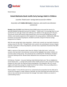 Kotak Mahindra Bank Instills Early Savings Habit In Children