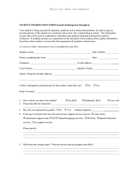 STUDENT INFORMATION FORM (Grades Kindergarten through 6)