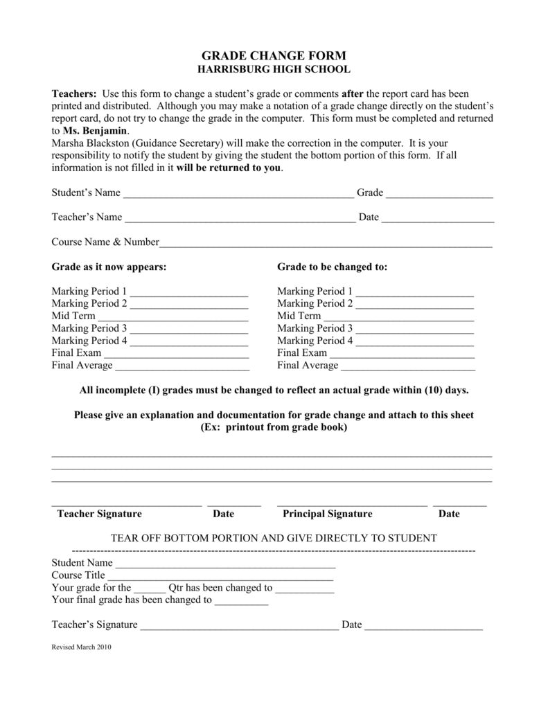 GRADE CHANGE FORM - Harrisburg School District