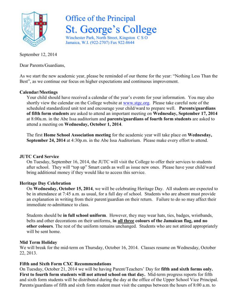 Letter to parents 12-9-14