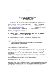 MUED 3301 syllabus - Kennesaw State University