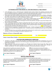 Authorization for Medical and/or Surgical Treatment