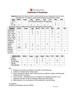 Department of Anesthesia - Guidelines For Pre