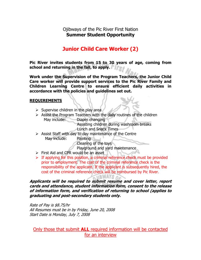 Junior Child Care Worker