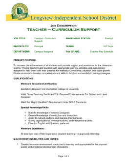 JOB TITLE: Teacher-Curriculum Support