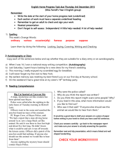 English Home Progress Task due Thursday 27th November 2014
