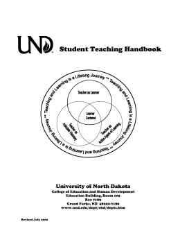 Student Teaching Handbook - University of North Dakota