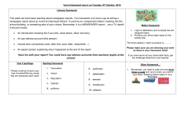 Year 6 Homework set on Thursday 12th September due in on