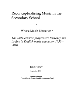 """Reconceptualising Music in the Secondary School"""