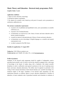 Music Theory and Education - Doctoral study programme, Ph