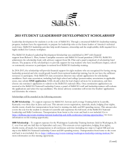 2015 Student Leadership Development Scholarship