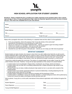 High School Application for Student Leadership